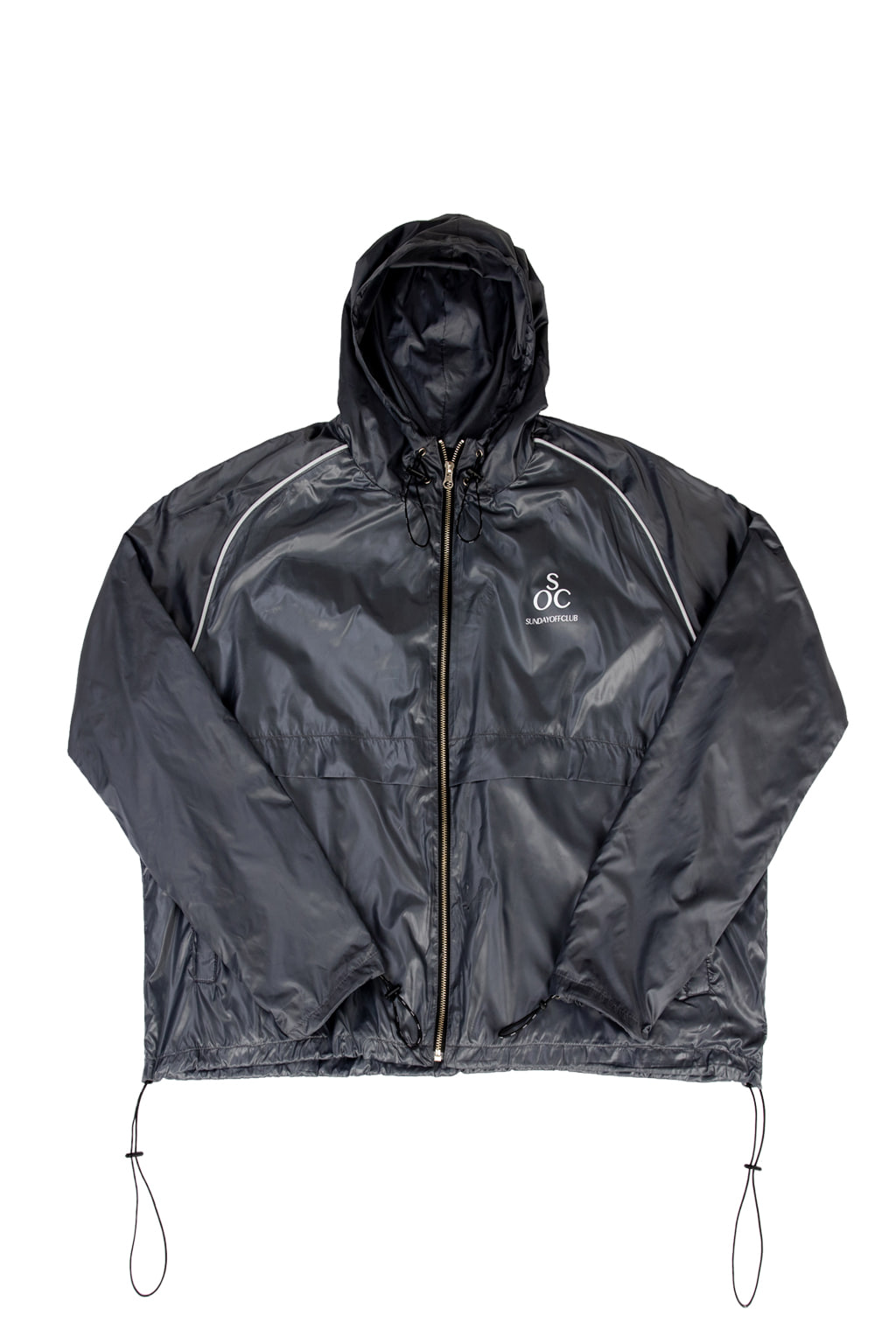 high gloss nylon track jacket - gray