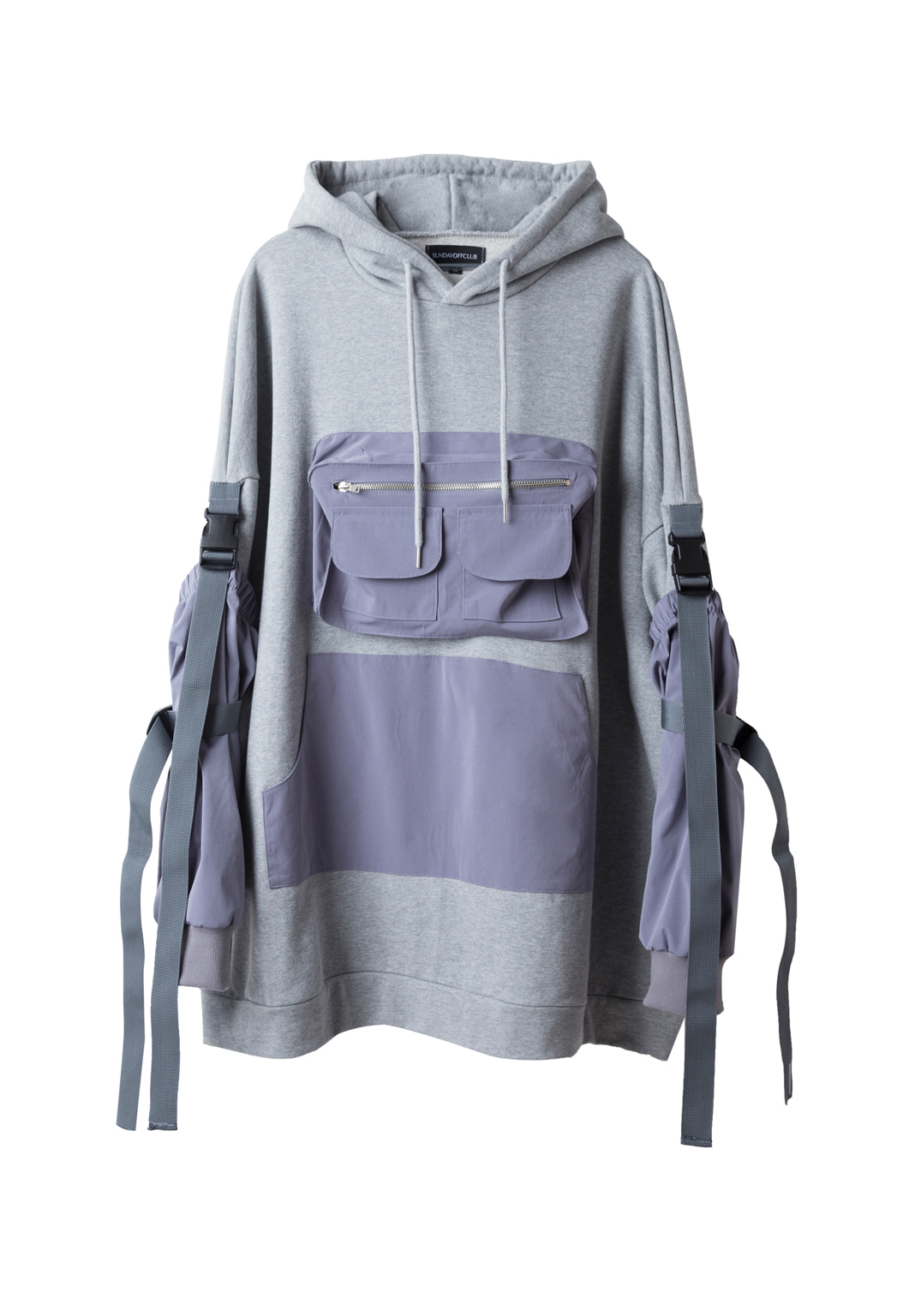 detachable arm cover hoodie  - gray