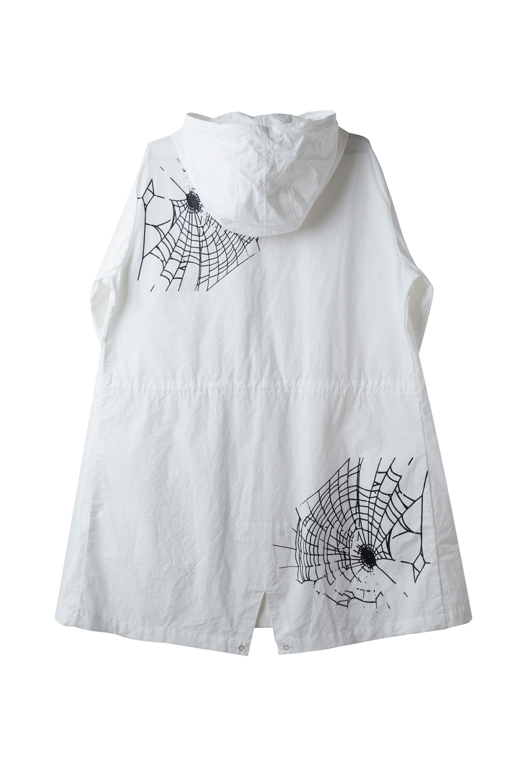 spiderweb hood shirts jacket - white