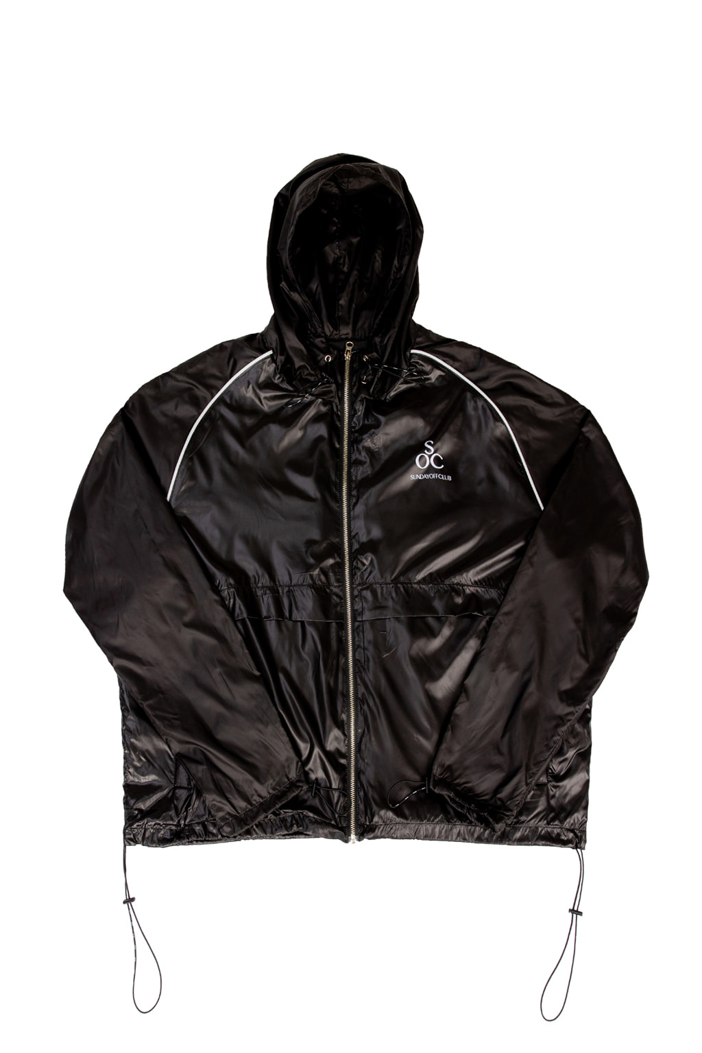 high gloss nylon track jacket - black
