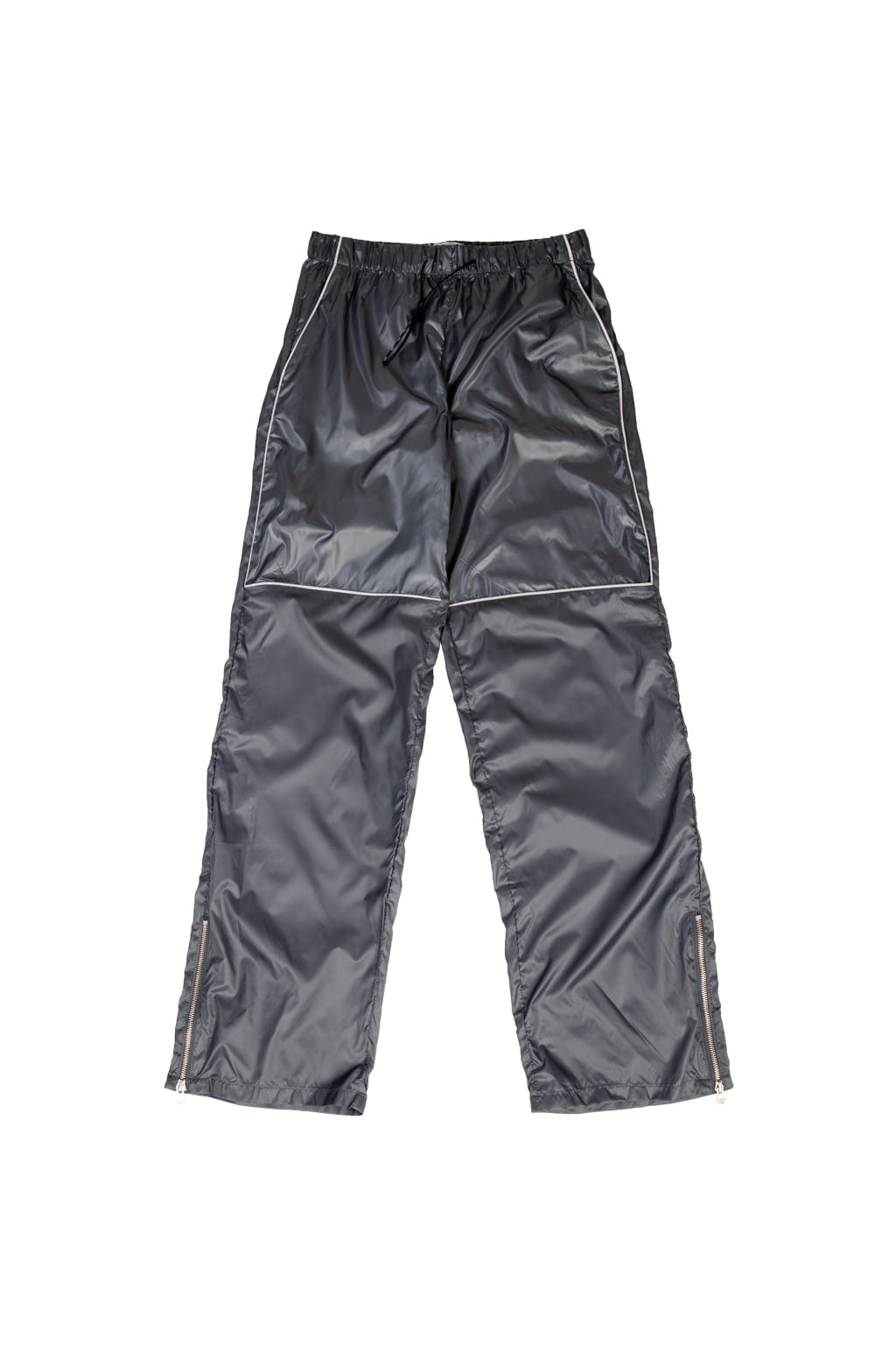 high gloss nylon track pants - gray