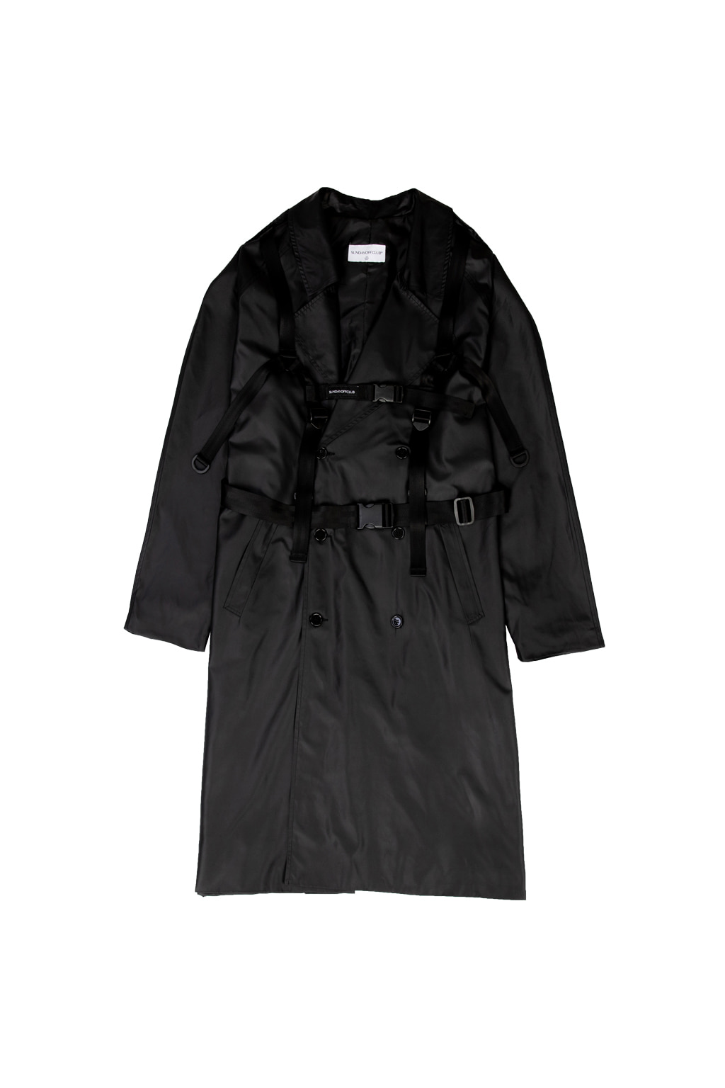 harness trench coat - black