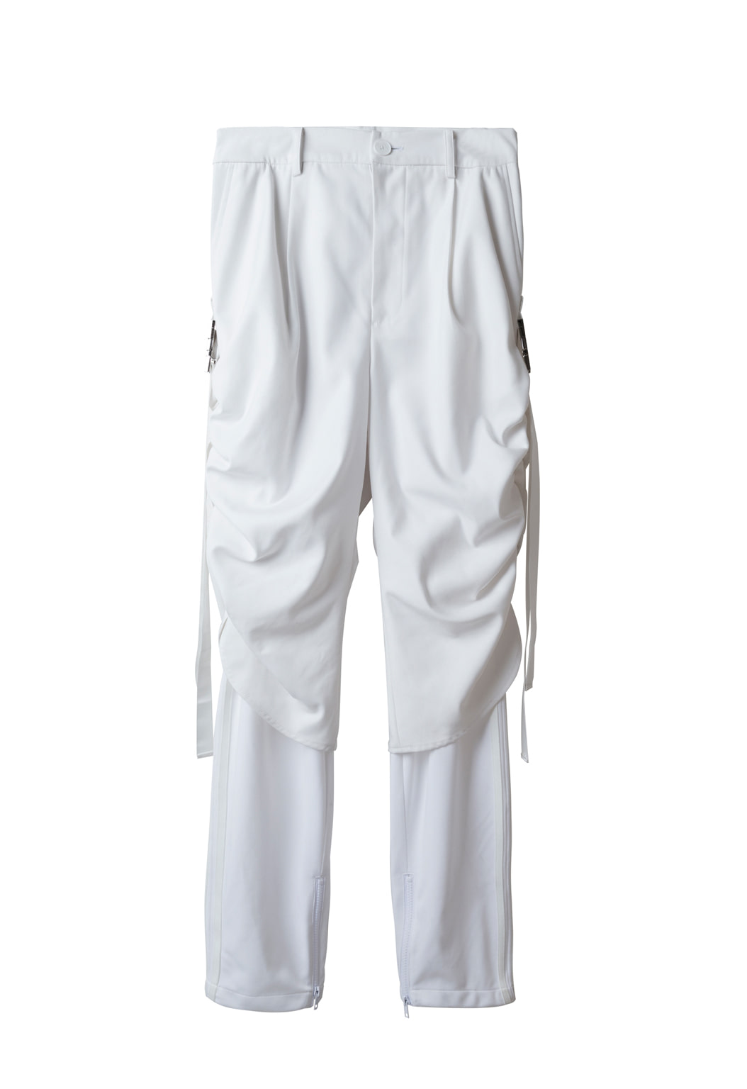shirring track pants - white