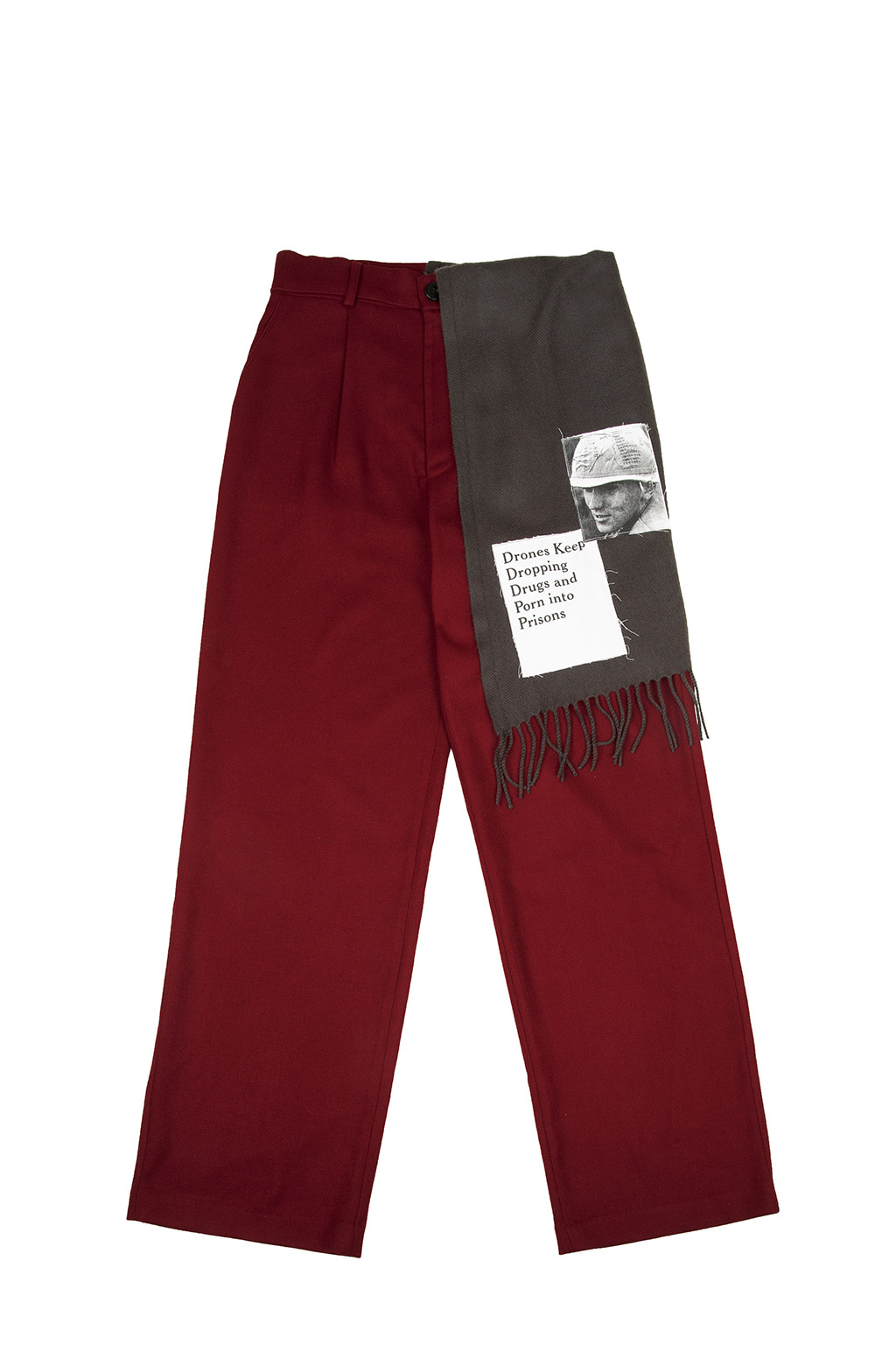 detachable muffler woolen pants - burgundy