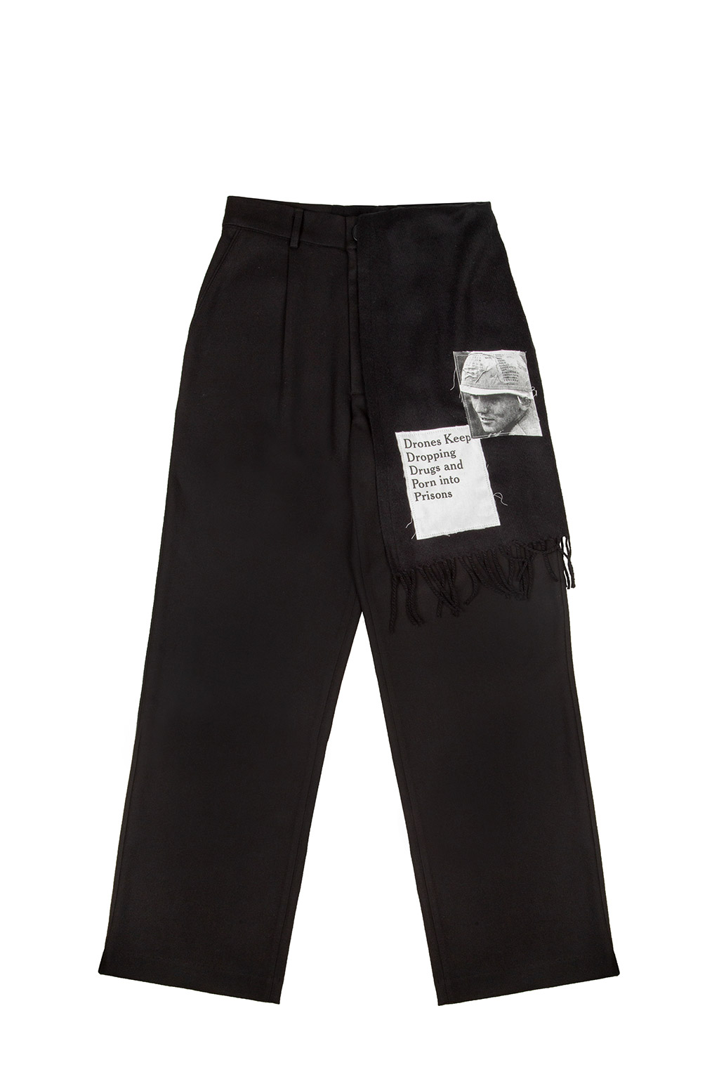 detachable muffler woolen pants - black