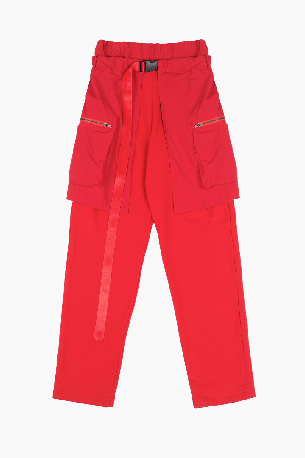 Layered Utility Cargo Skirt Lounge Pants - red