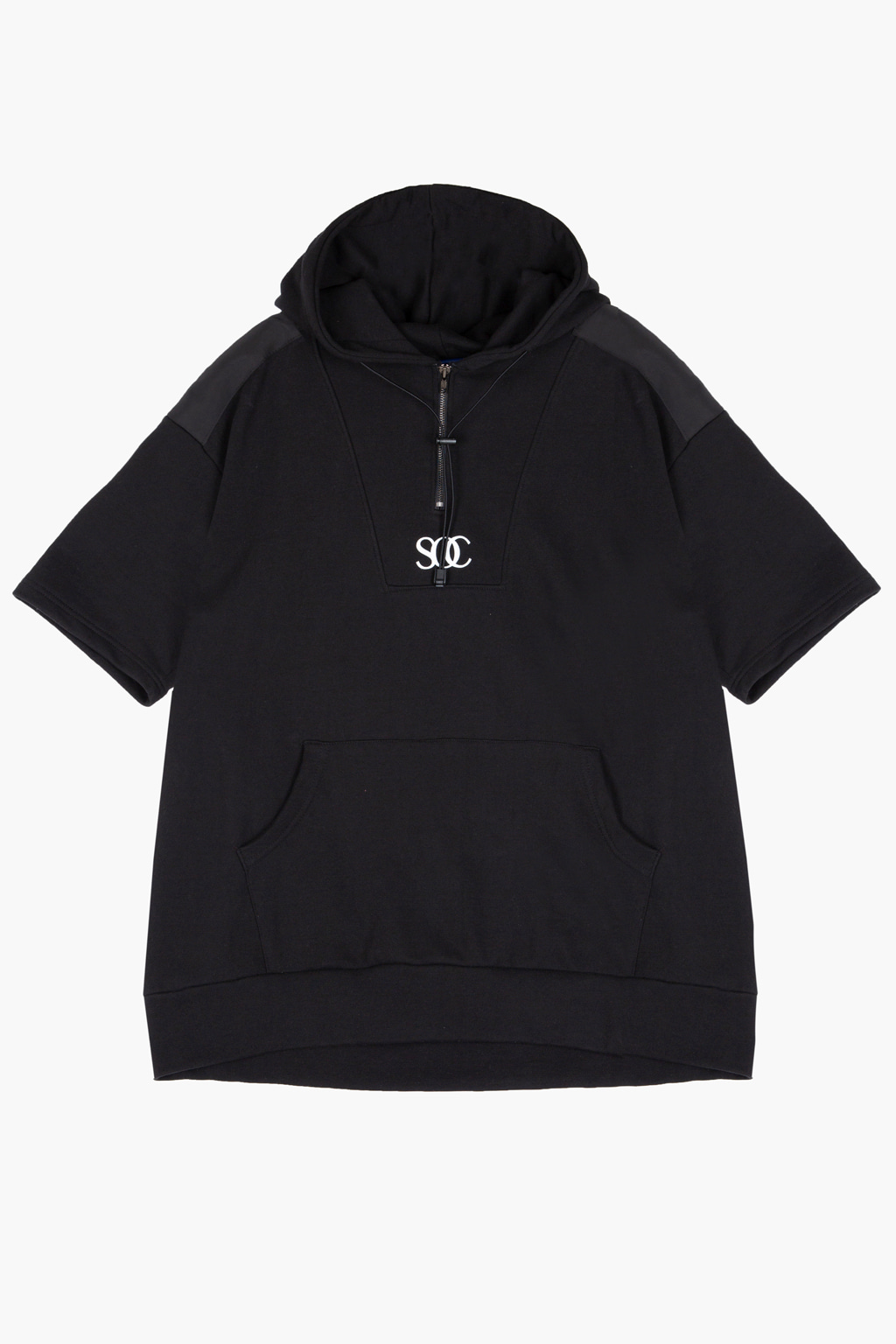 Shoulder Patch Detail Half-Zip 1/2 Hoodie -black