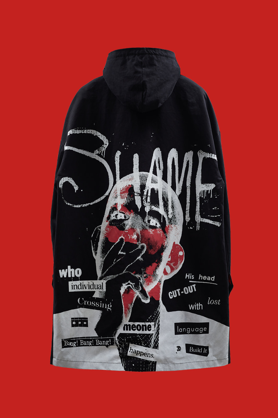 SHAME Artwork Mask-Hooded Mac Coat - Black