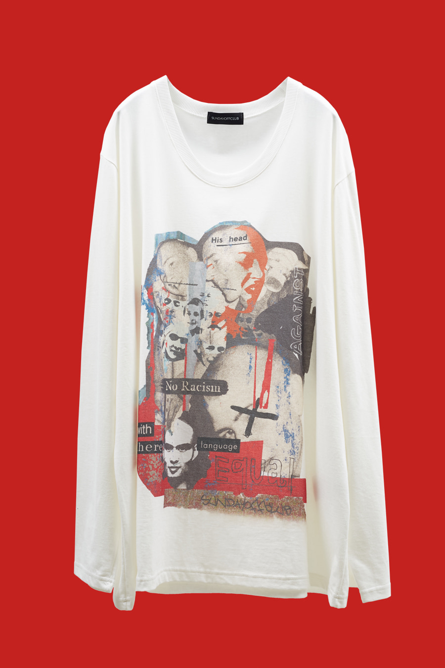Anti-Racism SHARP Artwork LST-shirt - White