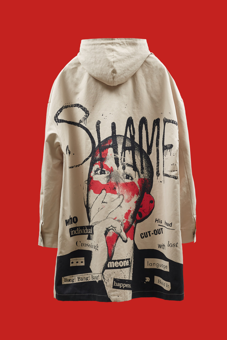 SHAME Artwork Mask-Hooded Mac Coat - Camel Beige