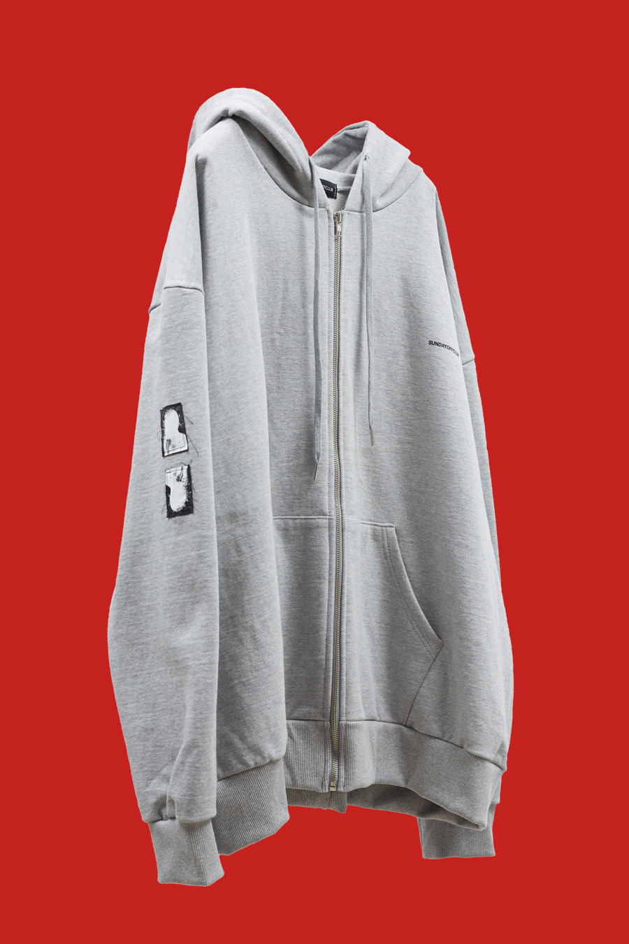 Signature Patch Details Logo Zip-up Hoodie - Grey