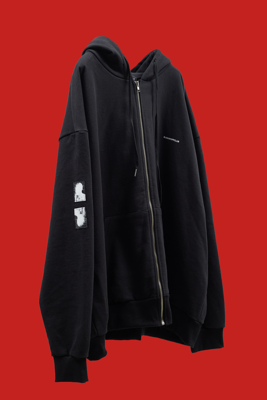 Signature Patch Details Logo Zip-up Hoodie - Black