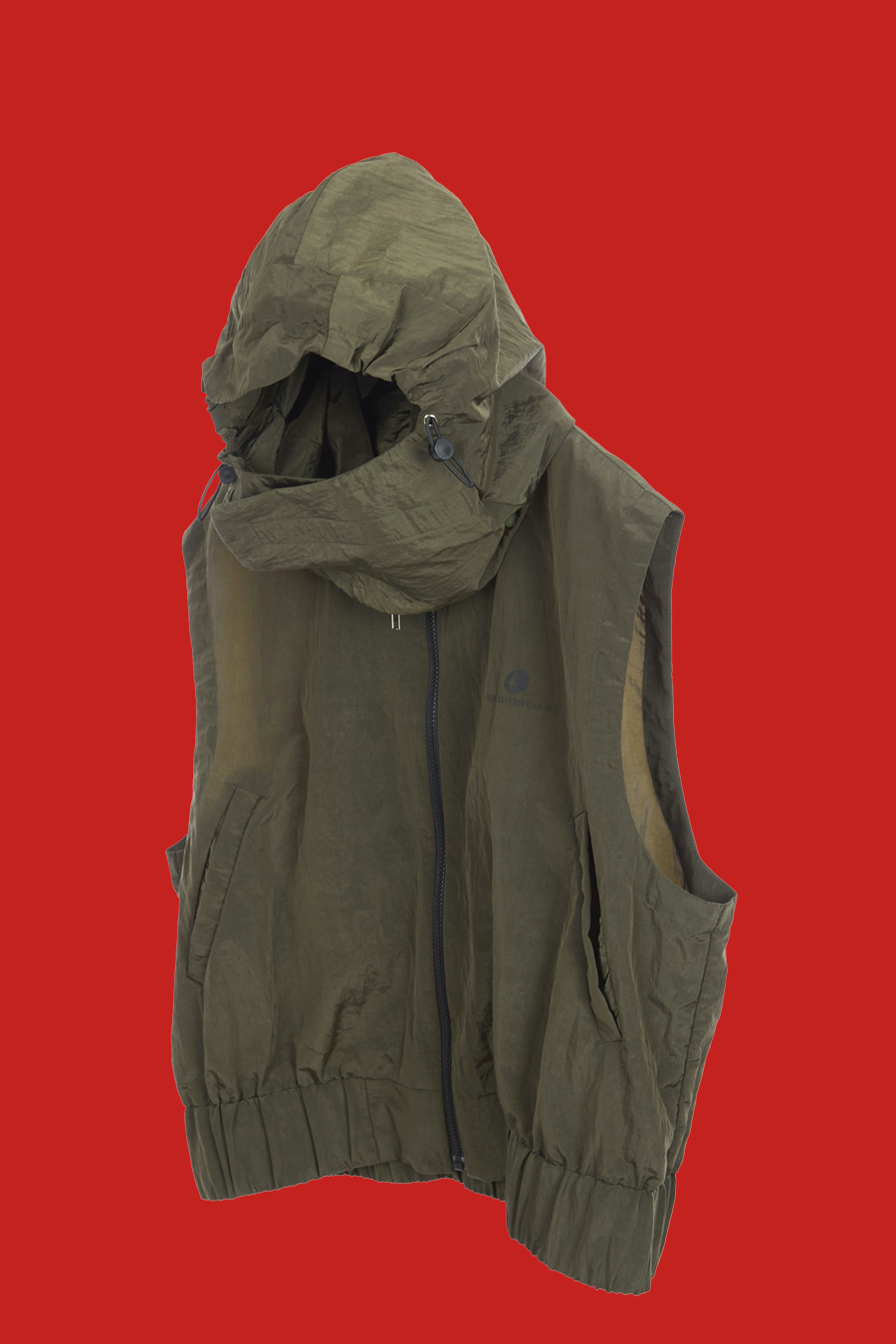 Detachable Mask-Hooded Logo Vest - Khaki