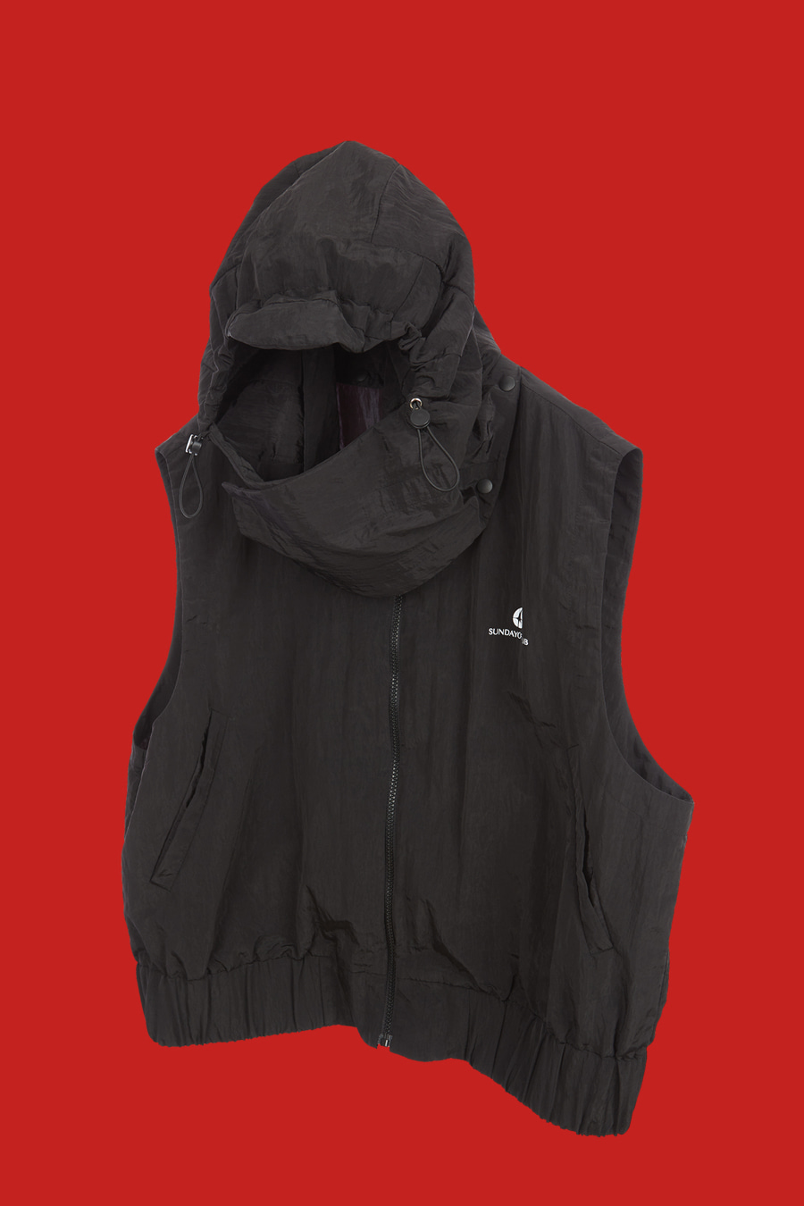 Detachable Mask-Hooded Logo Vest - Black