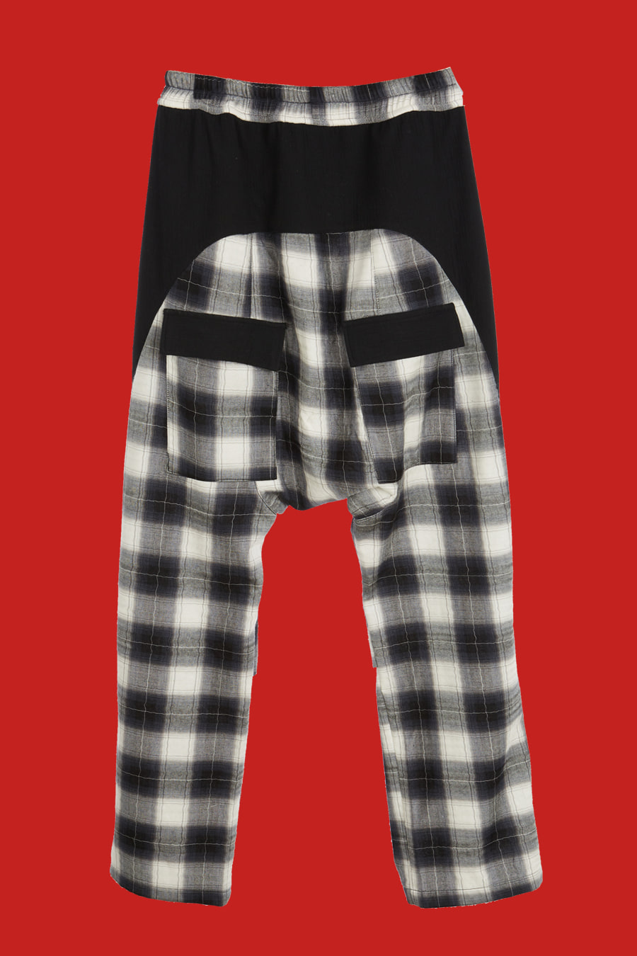 Plaid Check Drop Crotch Pants - Black