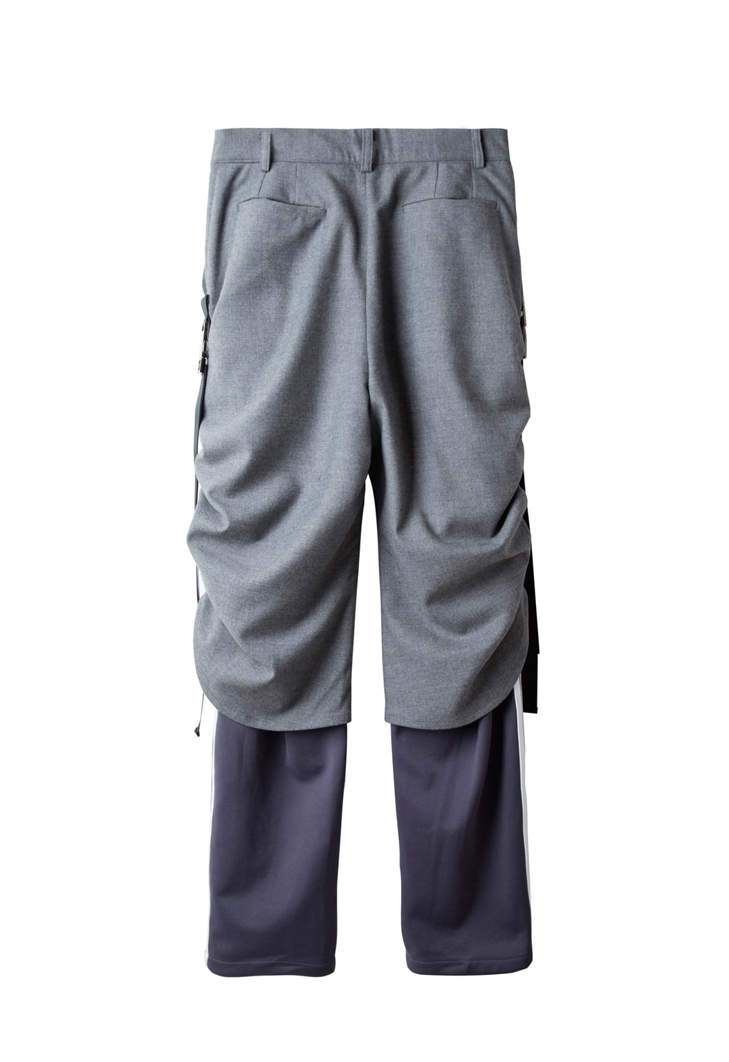 shirring track pants - gray