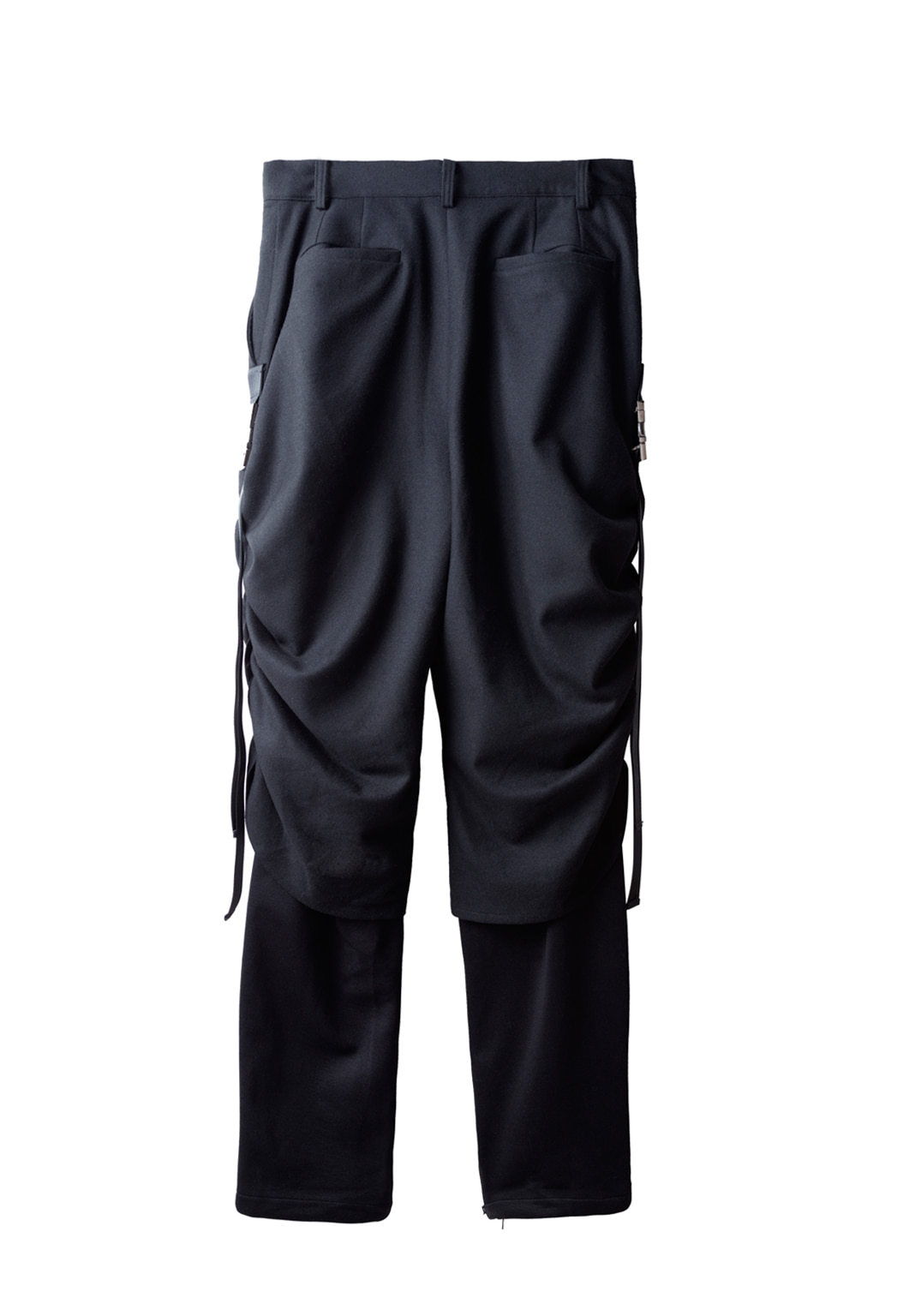 shirring track pants - black