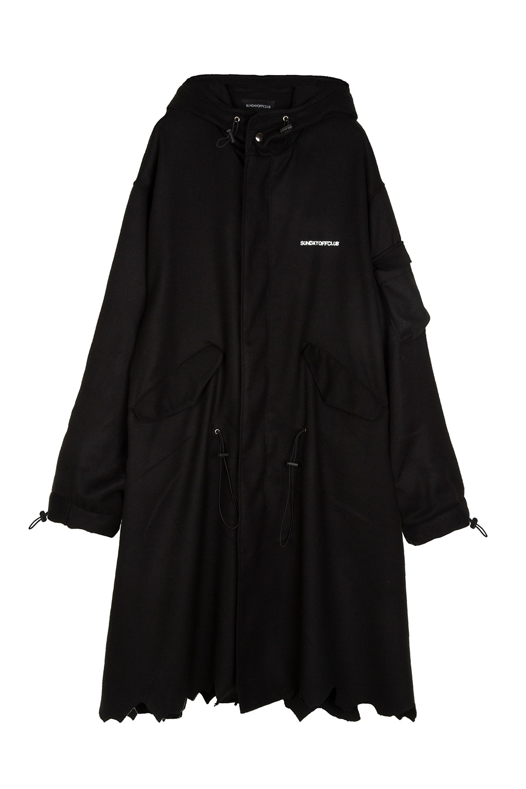 patch parka coat - black