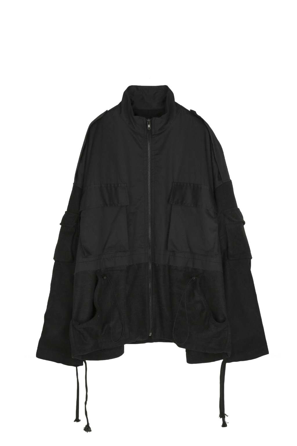 detachable hood docking jacket - black