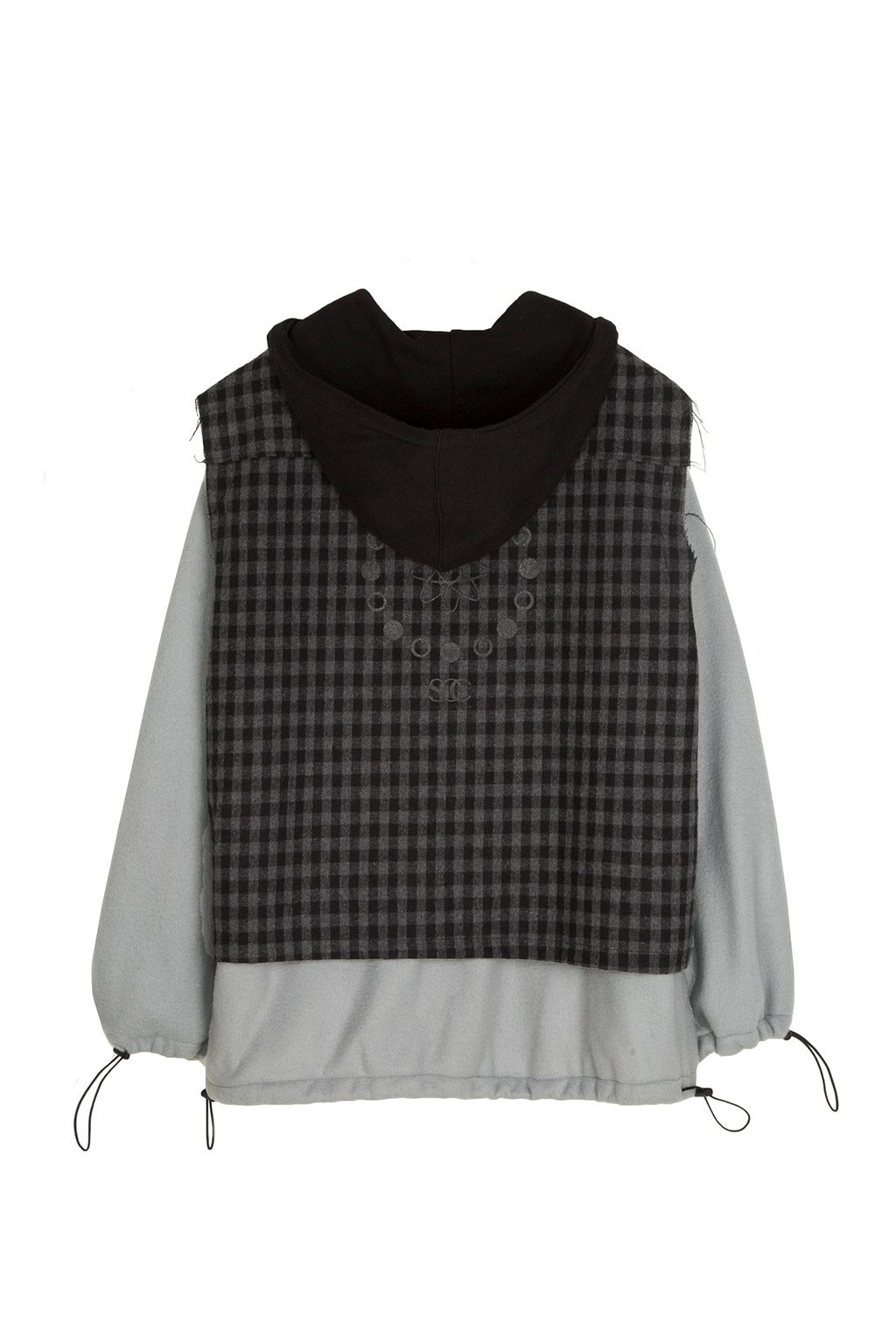 gingham check fleece hoodie - chacoal