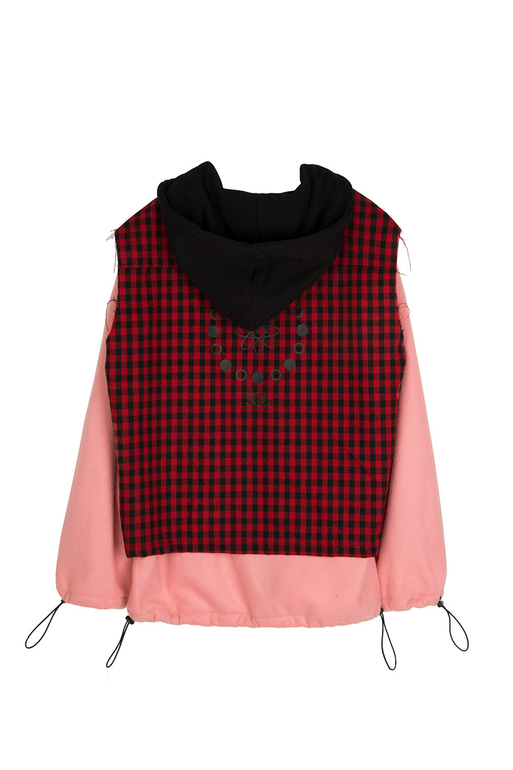 gingham check fleece hoodie - red
