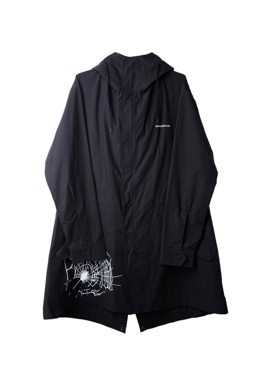 spiderweb hood shirts jacket - black