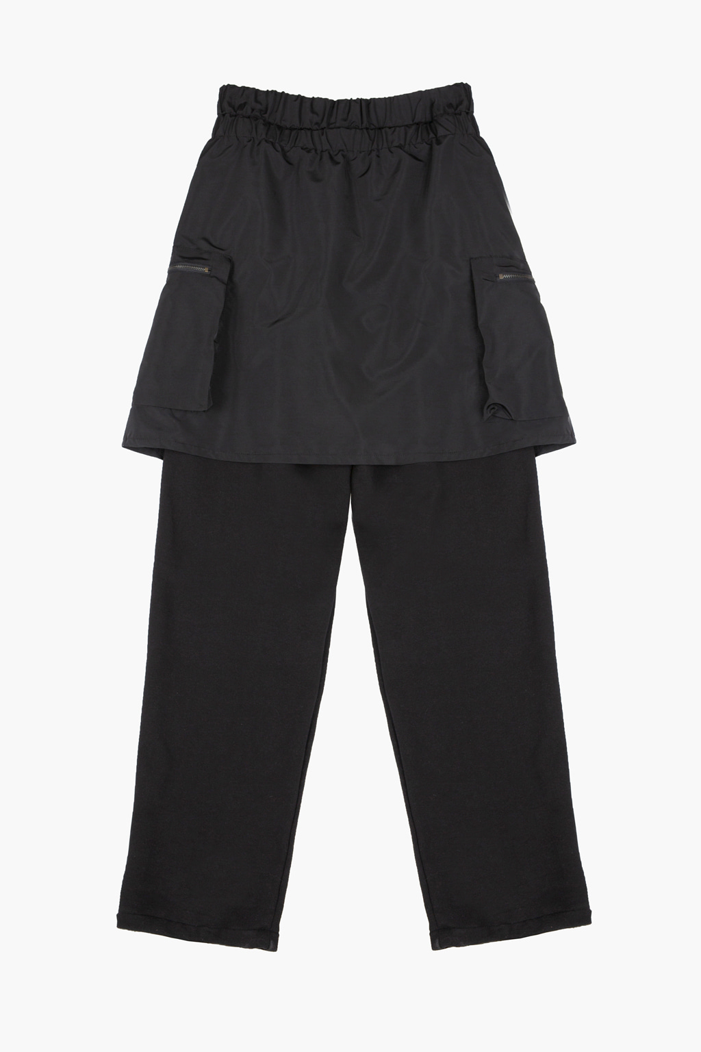 Layered Utility Cargo Skirt Lounge Pants - black