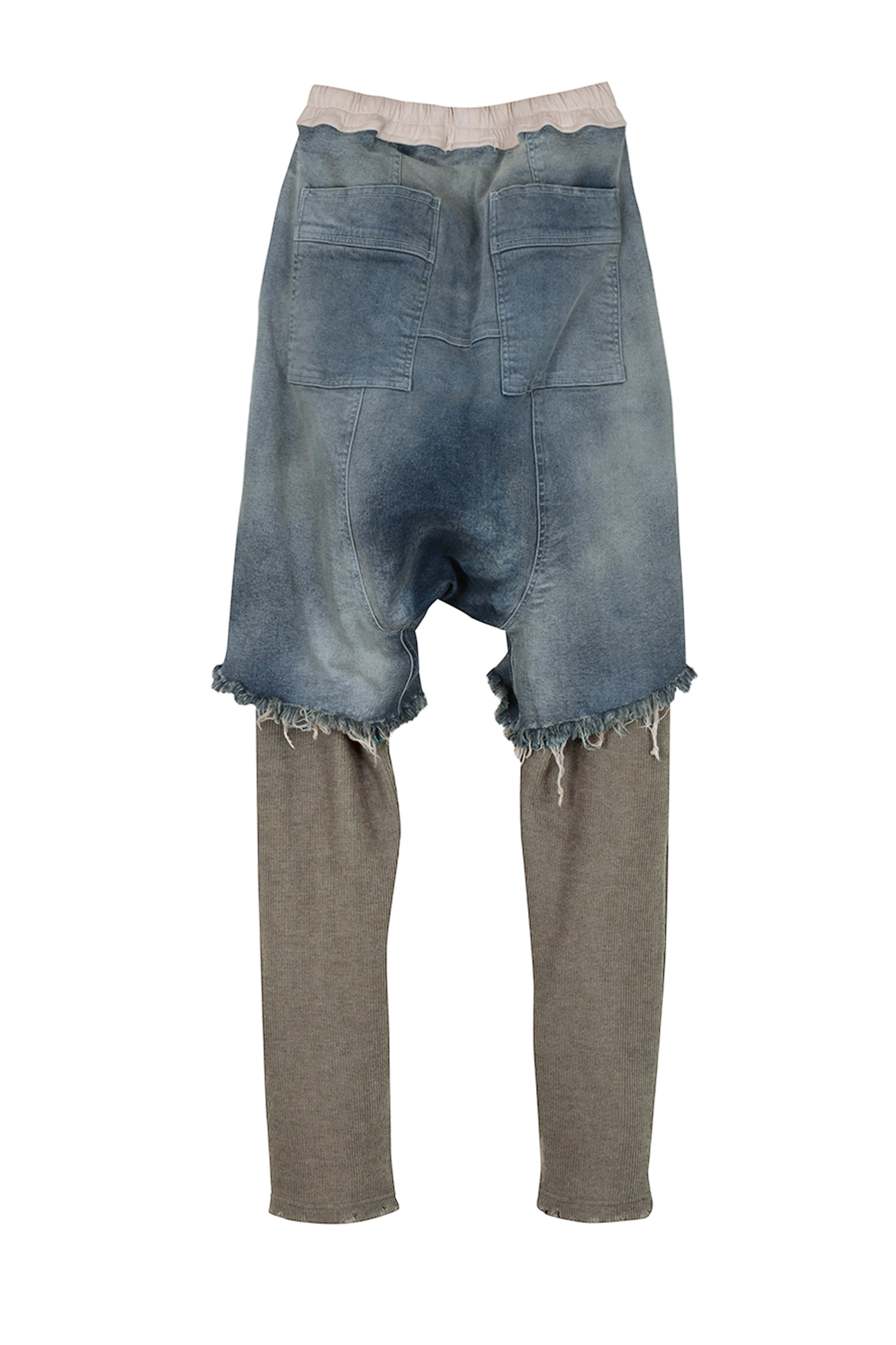 Docking Denim Shorts with Knitted Pants