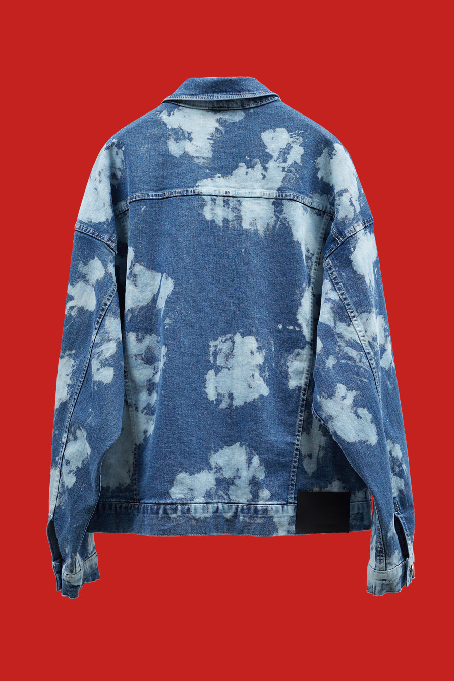 Bleached Washed Denim Jacket - Blue