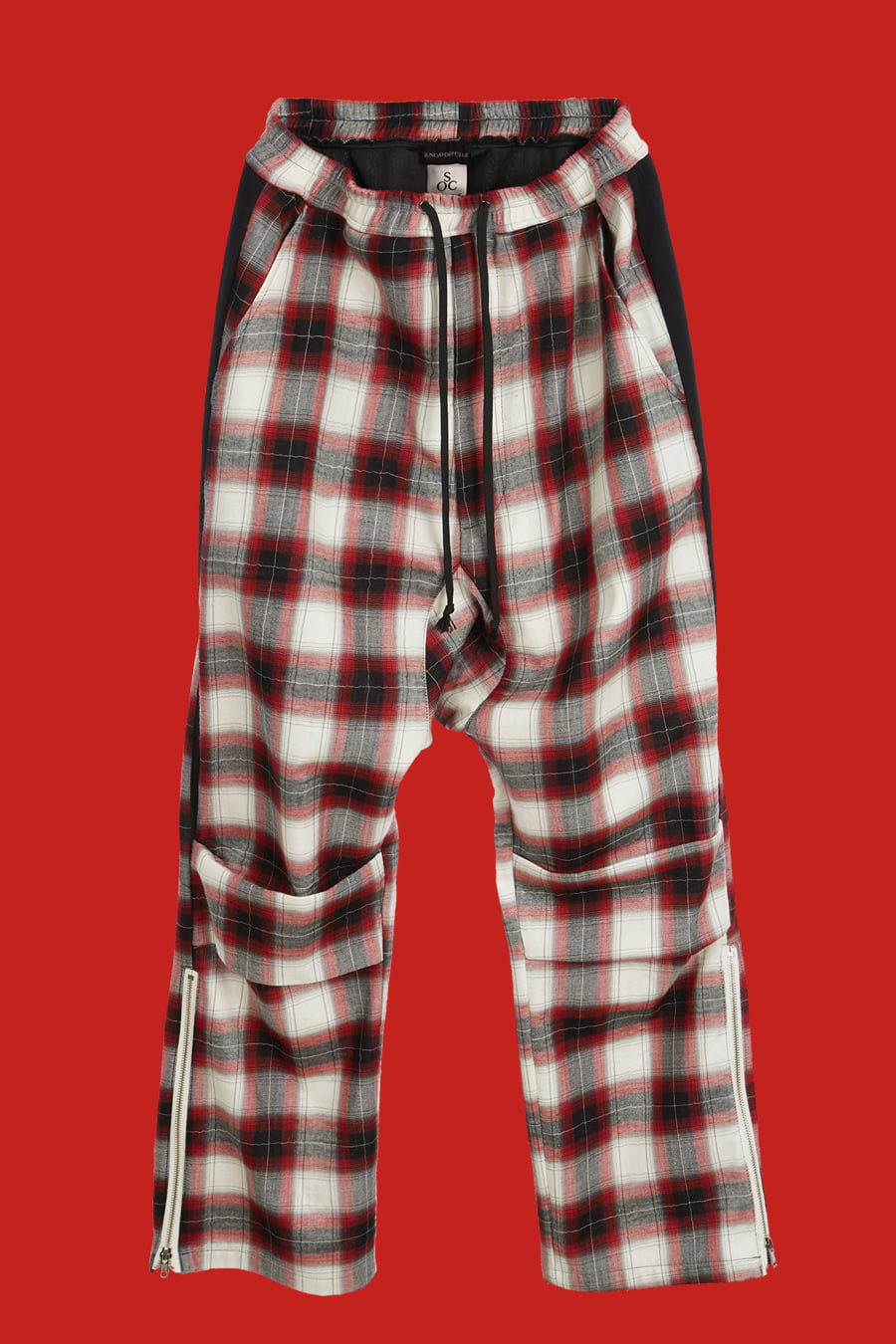 Plaid Check Drop Crotch Pants - Red
