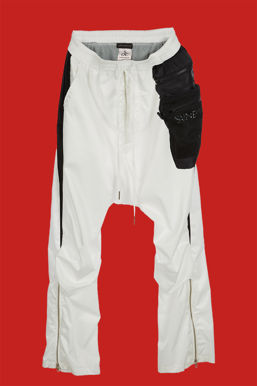 Detachable Cross Net Bag Monochrome Drop Crotch Pants - White